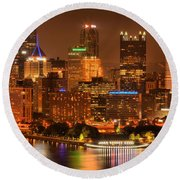 Cityscape Of Color Round Beach Towel