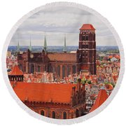 Cityscape Of Gdansk Round Beach Towel