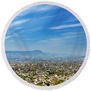 Cityscape Of Tuxtla Chiapas Round Beach Towel