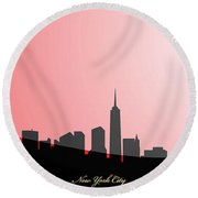 Cityscapes- New York City Skyline In Black On Red Round Beach Towel