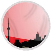 Cityscapes - Toronto Skyline In Black On Red Round Beach Towel