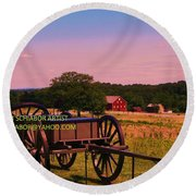 Civil War Caisson At Gettysburg Round Beach Towel
