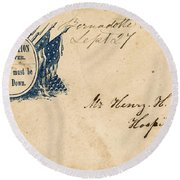 Civil War Letter 25 Round Beach Towel