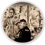Civil War Officer And Wife Round Beach Towel