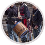 Civil War Reenactors With Drum And Fife Round Beach Towel