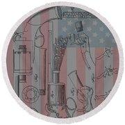Civil War Revolver American Flag Round Beach Towel