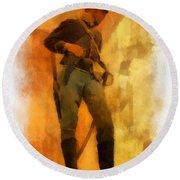 Civil War Soldier Photo Art Round Beach Towel