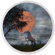 Claiming The Moon Round Beach Towel by Betsy Knapp