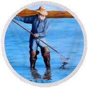 Clam Digger Round Beach Towel