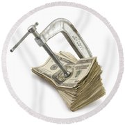 Clamp Putting Pressure On American Money Concept Round Beach Towel