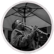 Clarinet Player In New Orleans Round Beach Towel by David Morefield
