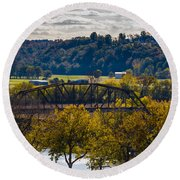 Clarksville Railroad Bridge Round Beach Towel