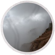 Clash Of Cloud And Stone Round Beach Towel