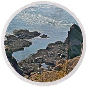 Clashing Tides At Tip Of Cape D'or-ns Round Beach Towel