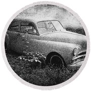 Clasic Car - Pen And Ink Effect Round Beach Towel