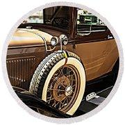 Classic 1928 Ford Model A Sport Coupe Convertible Automobile Car Round Beach Towel