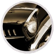 Classic '57 Chevy Bel Air In Sepia  Round Beach Towel