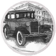 Classic Auto With Mills Mansion Round Beach Towel