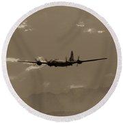 Classic B-29 Bomber Aircraft In Flight Round Beach Towel