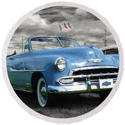Classic Blue Chevy Round Beach Towel