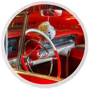 Classic Cadillac Beauty In Red Round Beach Towel