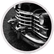 Classic Cadillac Sedan Black And White Round Beach Towel