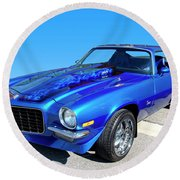 Classic Car 1973 Camaro 1 Round Beach Towel