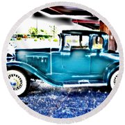 Classic Car 2 Round Beach Towel