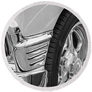 Classic Car Reflections - Training Wheels -179bw Round Beach Towel