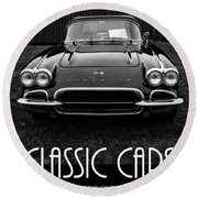 Classic Cars Front Cover Round Beach Towel