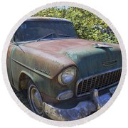 Classic Chevy With Rust Round Beach Towel