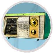 Classic Clock Radio Round Beach Towel