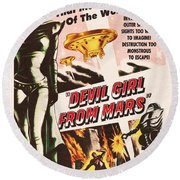 Classic Devil Girl From Mars Poster Round Beach Towel