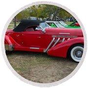 Auburn 1936 Roadster Classic Elegance Round Beach Towel