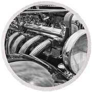 Classic Engine - Classic Cars At The Concours D Elegance. Round Beach Towel