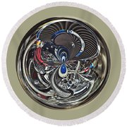 Classic Engine Orb Abstract Round Beach Towel