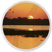 Classic Florida Sunrise Round Beach Towel