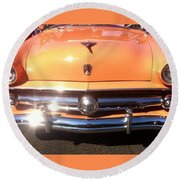 Classic Ford Car Hood Peach Round Beach Towel