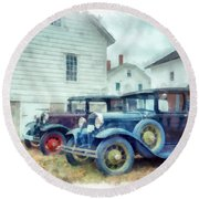 Classic Ford Model A Cars Round Beach Towel