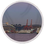 Classic Full Moon And Ferries Panorama Round Beach Towel