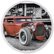 Classic Hot Rod Round Beach Towel