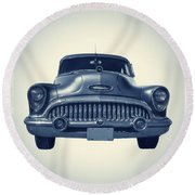 Classic Old Car On Vintage Background Round Beach Towel