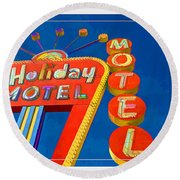Classic Old Neon Signs Round Beach Towel