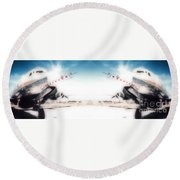 Propeller Aircraft Round Beach Towel
