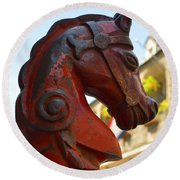 Classic Red Horsehead Post Round Beach Towel