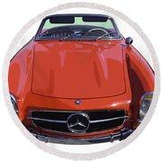 Classic Red Mercedes Benz 300 Sl Convertible Sportscar  Round Beach Towel