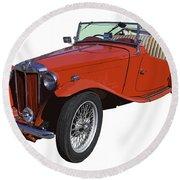 Classic Red Mg Tc Convertible British Sports Car Round Beach Towel