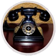 Classic Rotary Dial Telephone Round Beach Towel