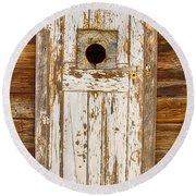 Classic Rustic Rural Worn Old Barn Door Round Beach Towel