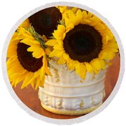 Classic Sunflowers Round Beach Towel